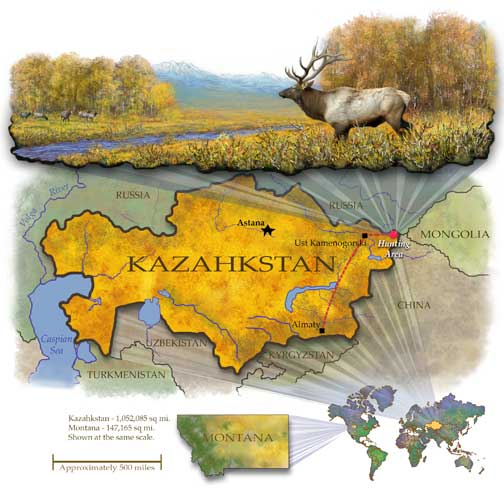 Kazahkstan Map designed for the Rocky Mountain Elk Foundation